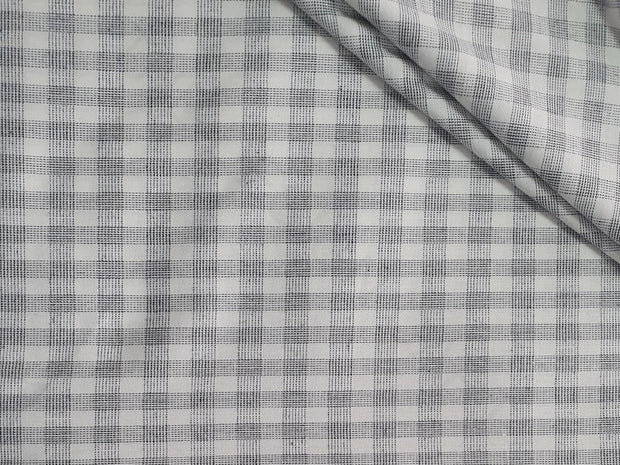 Gray White Checks Yarn Dyed Cotton Fabric | The Design Cart