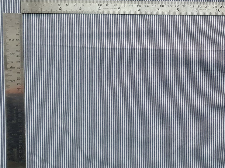 Dark Gray White Stripes Yarn Dyed Cotton Fabric | The Design Cart