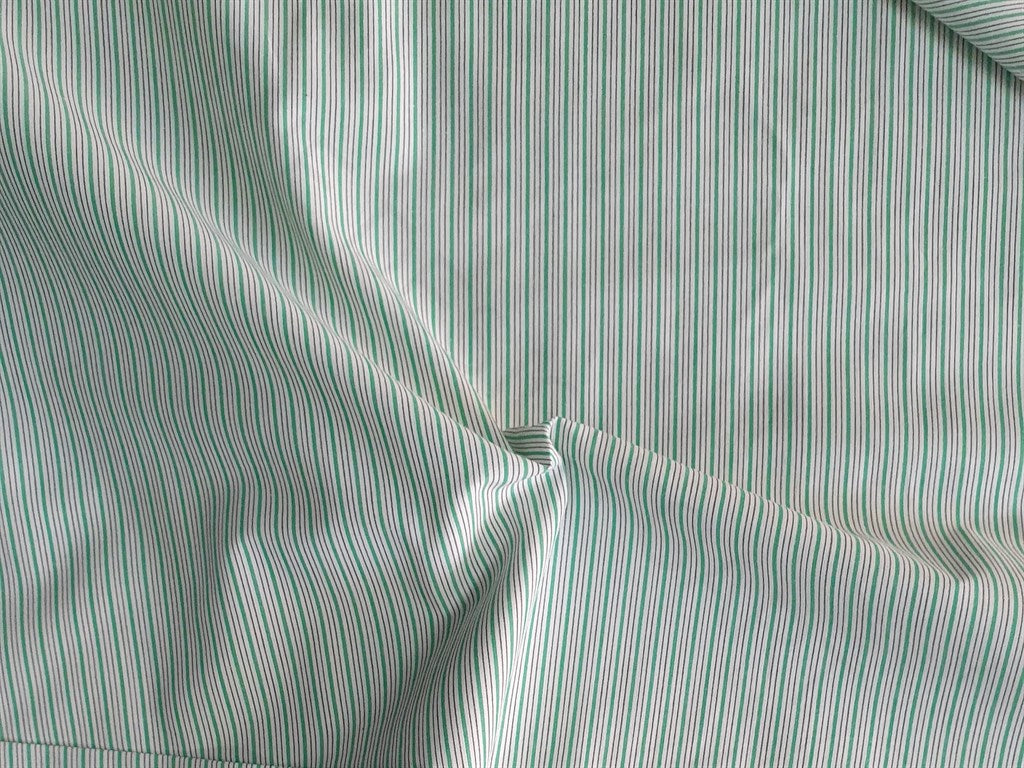 Green White Yarn Dyed Stripes Cotton Fabric