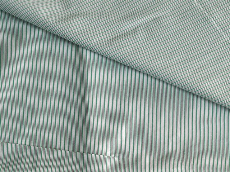 Green White Yarn Dyed Stripes Cotton Fabric | The Design Cart