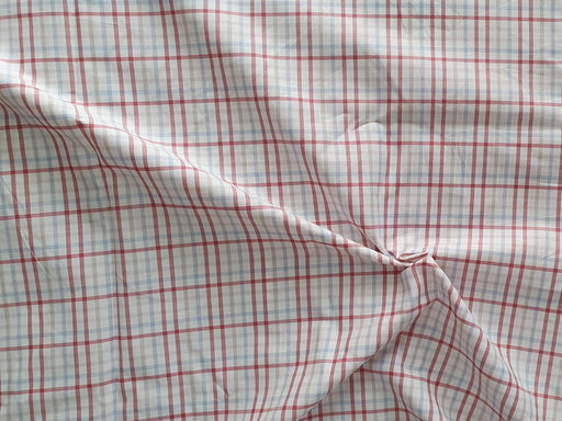White Red Checks Yarn Dyed Poly Cotton Fabric
