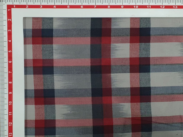 Cadet Gray and Red Ikat Checks Yarn Dyed Cotton Fabric