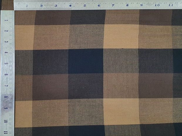 Choco Bean Brown and Black Yarn Dyed Checks Flannel Twill Cotton Fabric