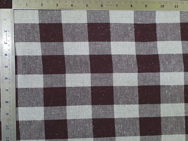 Choco Brown Gray Gingham Nappy Checks Yarn Dyed Twill Cotton Fabric