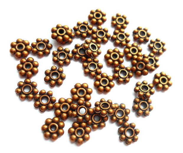 Copper German Silver Flower Spacer Beads
