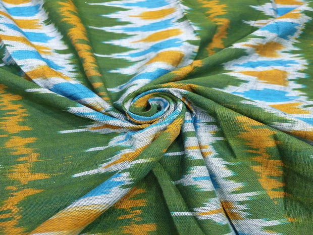 Green Yellow Printed Cotton Ikat Fabric
