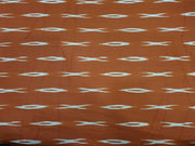 Bright Brown Abstract Printed Cotton Ikat Fabric