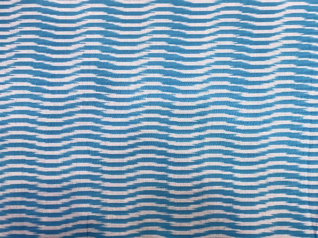 Blue White Printed Cotton Ikat Fabric
