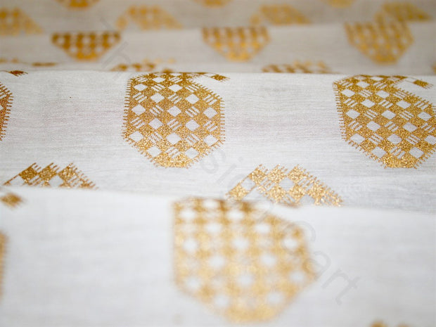 Golden Cream Paisleys Design Polyester Chanderi Fabric (1670623494178)