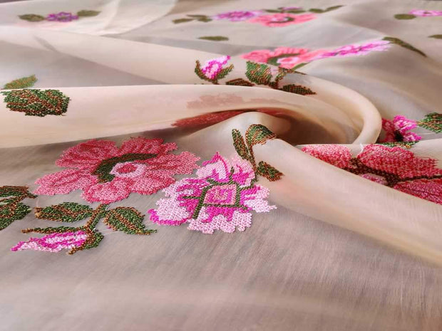 Cream Pink Floral Embroidered Organza Fabric (4543926206533)