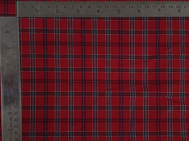 Crimson Red Gray Yarn Dyed Cotton Check Fabric