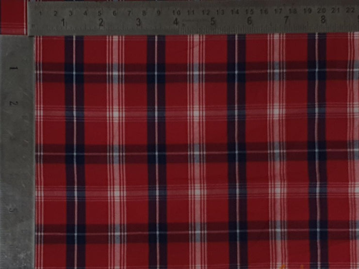 Crimson Red White Yarn Dyed Checks Cotton Fabric