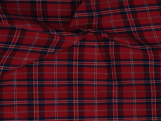Crimson Red Navy Blue Yarn Dyed Check Cotton Fabric