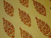 Yellow Floral Khadi Print Polyester Chanderi Fabric | The Design Cart