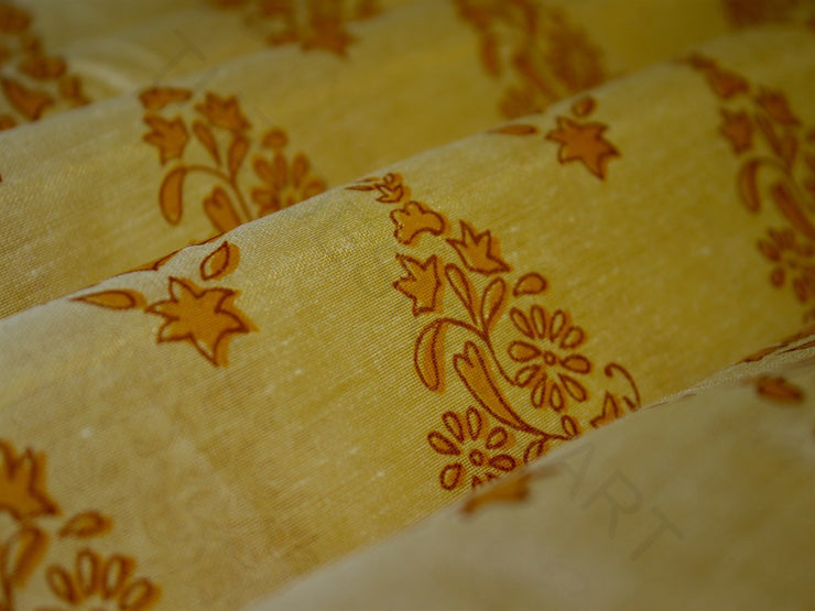 Yellow Floral Khadi Print Polyester Chanderi Fabric | The Design Cart (3775089442850)