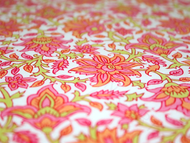 Off White Peach Pink Flowers Cotton Fabric | The Design Cart