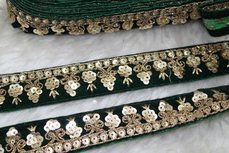 Dark Green Fancy Sequins Work Embroidered Lace Trim | The Design Cart (4355821404229)
