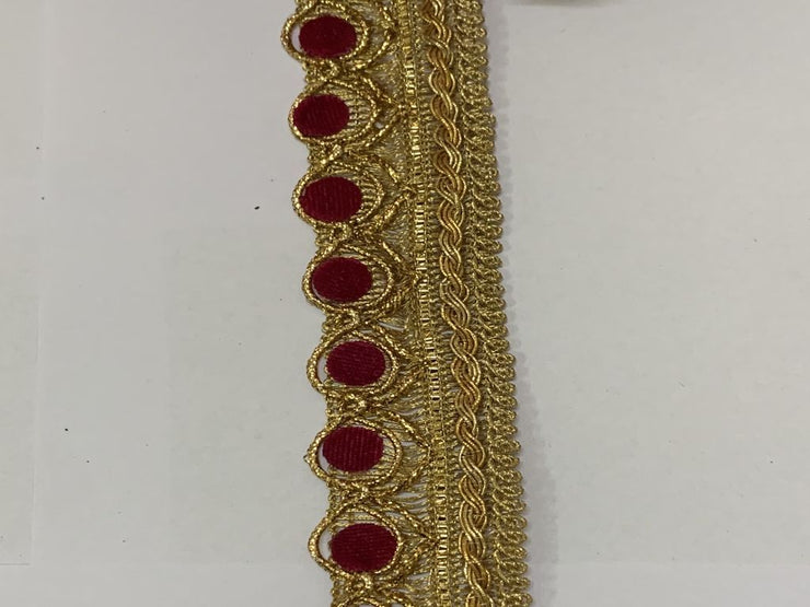 Dark Pink Golden Zari Work Lace Border (4567409786949)