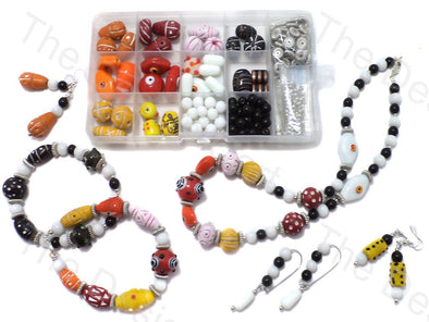 DIY Jewellery Making Clay Beads & Glass Beads Kit