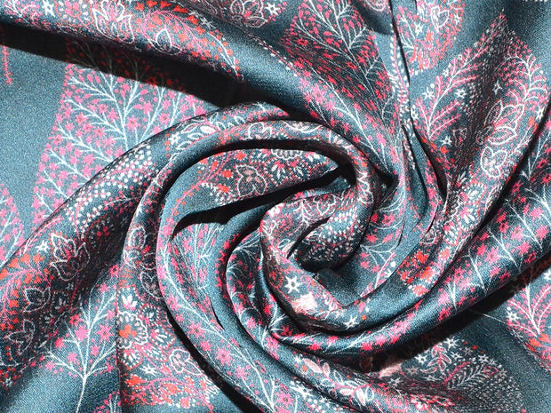 Navy Blue Leaves Georgette Satin Fabric | The Design Cart