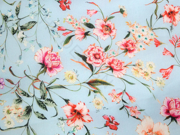 Blue Gray Floral Georgette Satin Fabric | The Design Cart