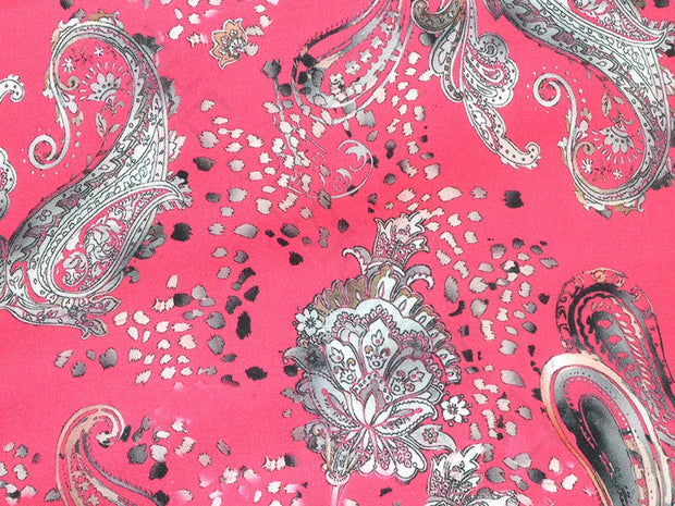 Magenta Pink Paisleys Georgette Satin Fabric | The Design Cart