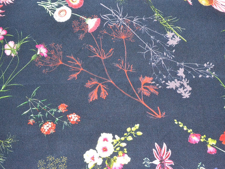 Navy Blue Floral Pure Silk Crepe Fabric | The Design Cart (3772210905122)