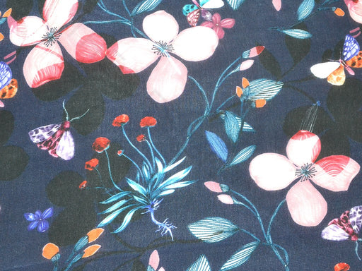 Navy Blue Pink Floral Viscose Crepe Digital Printed Fabric