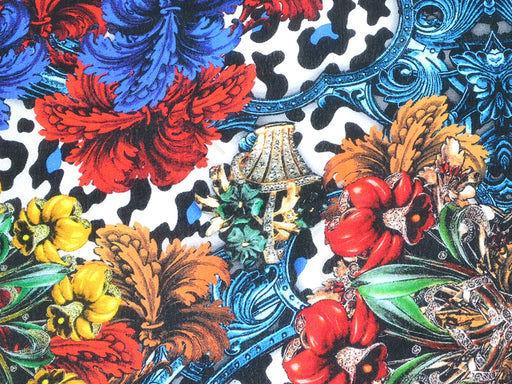 Multicolour Red Flowers Viscose Crepe Digital Printed Fabric