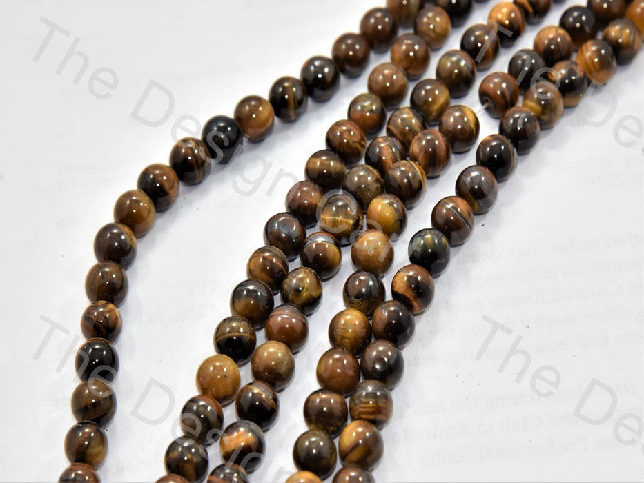 8 MM Brown Black Tiger Onyx Stones - The Design Cart