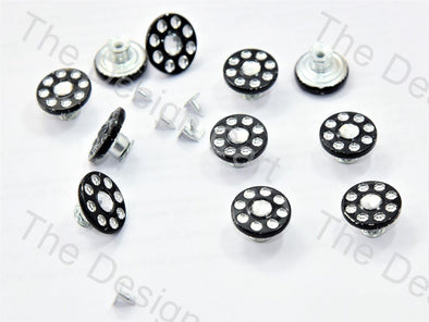 Black Multiple Swarovski Rivet Buttons