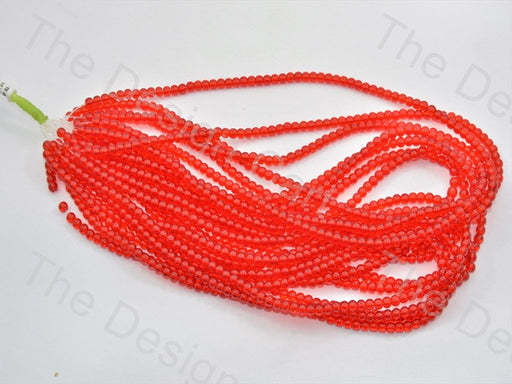 Red Round Pressed Glass Beads Strings - The Design Cart