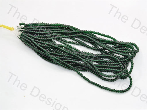 Dark Green Round Pressed Glass Beads Strings - The Design Cart