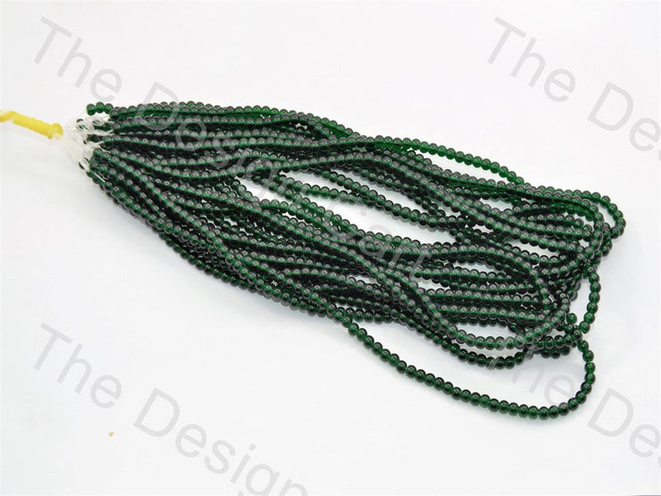 Dark Green Round Pressed Glass Beads Strings - The Design Cart (434687737890)