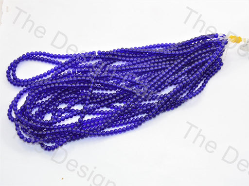 Blue Round Pressed Glass Beads Strings - The Design Cart