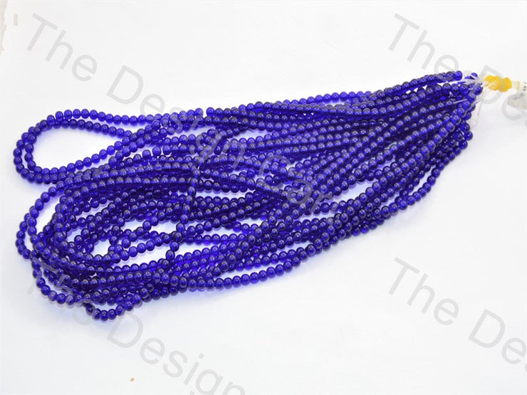 Blue Round Pressed Glass Beads Strings - The Design Cart (434687836194)