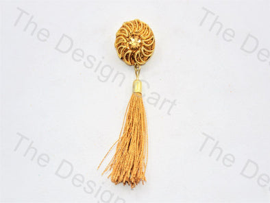 Half Moons Golden Handcrafted Tassel Button