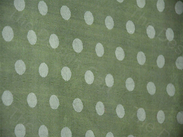 Green Polka Dots Mashru Silk Fabric | The Design Cart