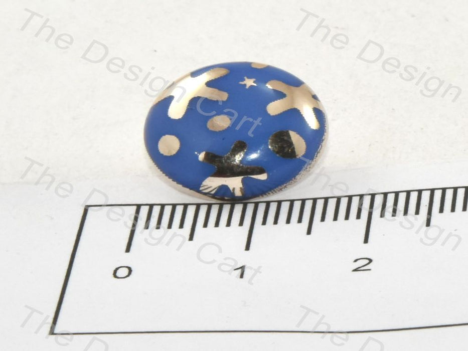 Aqua Blue Starfish UV Metallic Finsih Button - The Design Cart