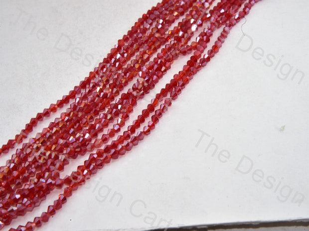 Maroon Transparent Bicone Crystal Beads