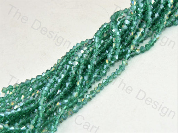 Green Rainbow Transparent Bicone Crystal Beads