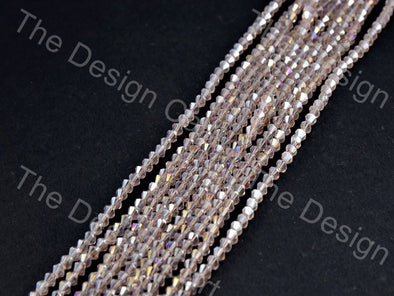 Baby Pink Rainbow Transparent Bicone Crystal Beads