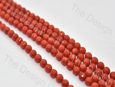 Coral Red Rondelle Jade Quartz Semi Precious Stone - The Design Cart