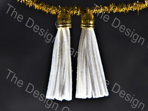 White Golden / Silver Leather Cord Tassels