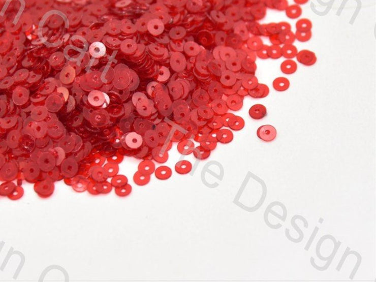 Red Transparent Circular Sequins