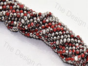 Silver Red Dual Tone Tyre / Rondelle Shaped Crystal Bead (421738315810)