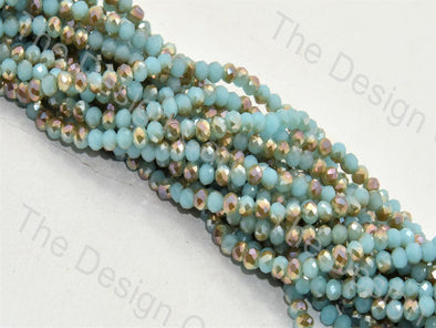 Sky Blue Golden Dual Tone Tyre / Rondelle Shaped Crystal Bead