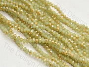 Olive Green Golden Dual Tone Tyre / Rondelle Shaped Crystal Bead (421738414114)