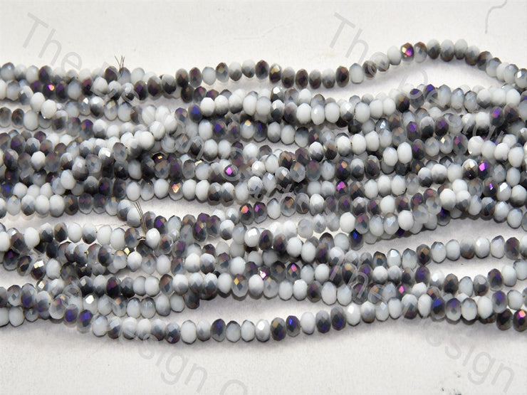 White Black Purple Dual Tone Tyre / Rondelle Shaped Crystal Bead (421738545186)