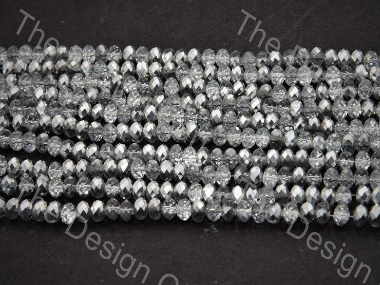 Gray White Transparent Dual Tone Tyre / Rondelle Shaped Crystal Bead